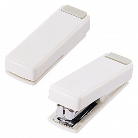 LIHIT LAB M-20 Mini Stapler - 10 Pages - White